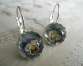 Periwinkle Crayon Blue, White, Yellow Pansies Beneath Glass-Crown Leverback Pressed Flower Earrings-Symbolizes Loyalty-Gifts Under 30