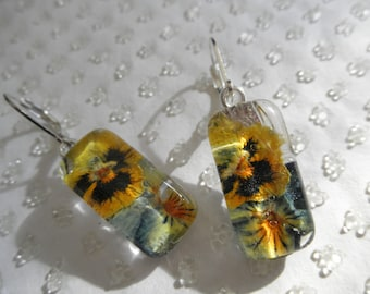 Ombre Purple, Lavender and Yellow Pansies Pressed Flower Glass Rectangle Earrings-Nature's Wearable Art-Symbolizes Loyalty-Gifts Under 30