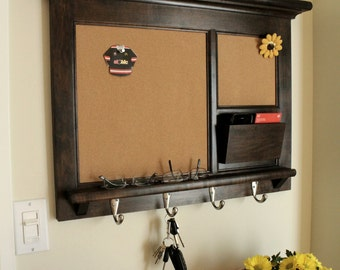 Solid maple hardwood home decor wall hanging mail for Wall mail organizer with cork board