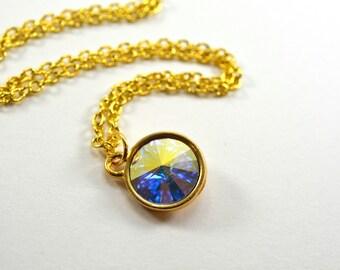 Sparkly Gold Clear Crystal Necklace Swarovski Gold Clear Necklace Crystal Jewelry