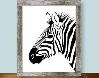 Zebra Stripes Printable Art 8x10 in Black and White
