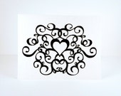 Elegant wedding congratulations card, Happy Anniversary, Valentines Day, Black & White Heart, simple, blank note card
