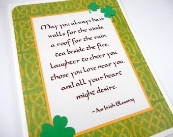 Irish Blessing Card, Irish Prayer, Friendship card, St. Patrick's Day, St. Patty's Day, St. Paddy's Day, Shamrocks, celtic knots, green gold
