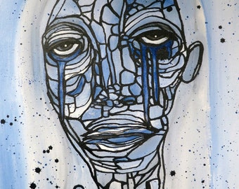 Graffiti Painting Low Brow Abstract Art Face Painting Blue Girl