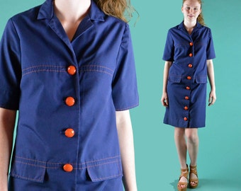 Vintage 70s Dress MOD Navy Blue Stewardess Shift Dress Big Buttons Shirtdress Vintage Mod Minidress Retro Hipster Dress S / M