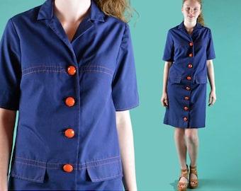 Vintage 70s Dress MOD Navy Blue Stewardess Shift Dress Big Buttons Shirtdress Vintage Mod Minidress Retro Hipster Dress S / M