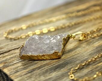 Druzy Necklace, Druzy Pendant, Druzy Jewelry, Gold Druzy Necklace, Gold Druzy Pendant, Light Green Druzy, 14k Gold Filled Necklace