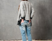 Grey jacket with invisible opening, office wear, grey cropped jacket, cropped jacket, everyday jacket