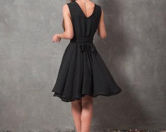 Black wrap dress, little black dress, circular skirt dress, dress with belt, wrap around dress