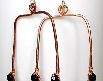 Copper Wire Wrapped Hoop Earrings Beaded Earrings Sterling Silver Earwires