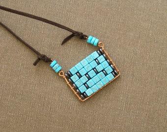Abacus Pendant, Plate pendant, mint blue boho necklace.