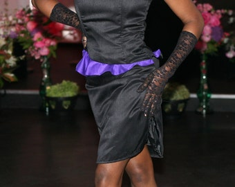 Black purple dress Contrast peplum dress Strapless dress Black peplum dress