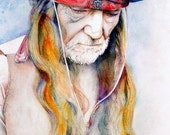Art Print--Willie Nelson--watercolor painting--Country Music Icon