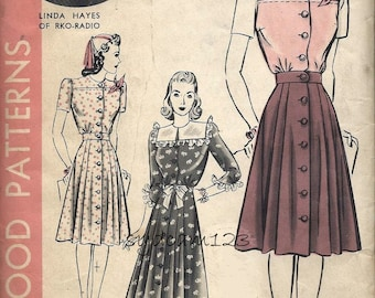 Vintage 1940s Hat & Button Front Pleated Dress Pattern Neck to Hem Button Closure Movie Star Linda Hayes Hollywood 636 Bust 32