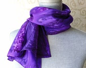 Silk Scarf Hand Dyed in Purples
