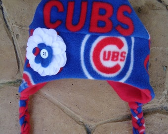 Chicago Cubs MLB Fleece Flower Hat with Ear Flaps and Braids