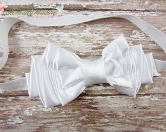 White Hair Bow, Classic White Satin Hair Bow Headband or Hair Clip, Large Satin Bow, Baptism, Christening, Baby Child Girls Headband