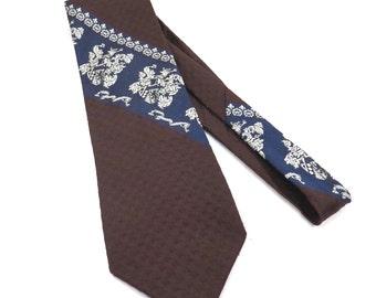 Chocolate Brown Royal Blue Super Wide Tie Vintage 1970s Men's Resilio Polyester Necktie