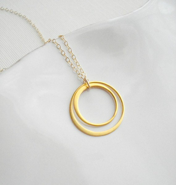 Two Circles Necklace Gold Geometric Gold Necklace, Love Circles. Gold Pendant Necklace, Modern, Minimalist, Pendant, Gift For Her Under 50