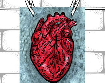 Red Anatomical Heart Wall Art. Typography Art Print - 8x10 - What's in Your Heart. College Dorm Wall Art. Bedroom Decor.