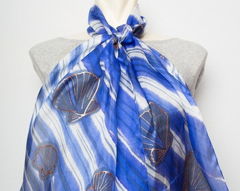 Unique Hand Painted Real Silk  Scarf Wrap with Seashells  Shells Ocean Sea Waves Water Blue White Nautical Scarf