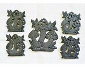 Cast Iron Mushroom Trivets, Five Trivets, Coasters, Vintage, 70's, 1970's, Black Mushrooms, Mushrooms, Retro Kitchen