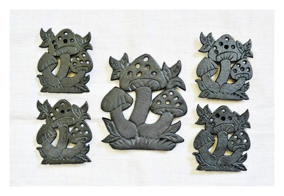 Cast Iron Mushroom Trivets, Five Trivets, Coasters, Vintage, 70's ...