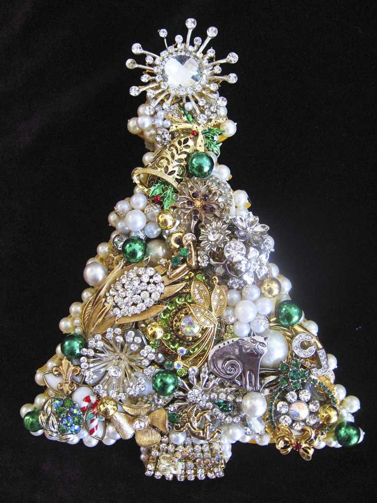 Vintage Jewelry Christmas Tree Collage Decorative Wall Art