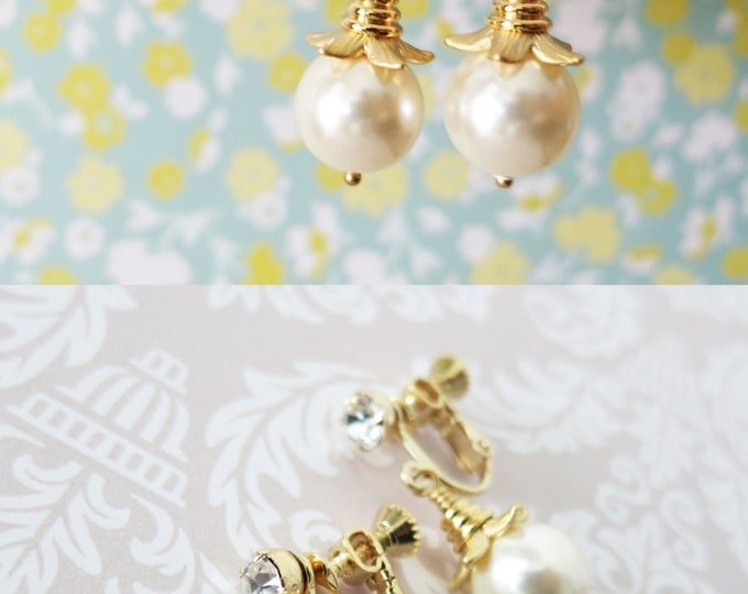 Pearl - Clip-On Simple Pearl Drop Earrings, Gifts, Gold Bridesmaid Earrings, Bridal Jewelry, Champange gold Wedding Jewelry, non-pierced