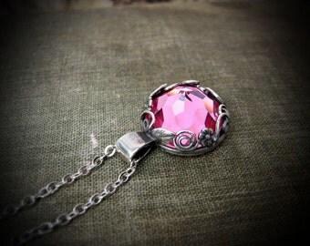 Delicate Rose Crystal Floral Necklace - N412