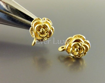 4 Tiny camellia flower earrings for jewelry making / supplies for earring making / stud earrings jewelry 1560-MG (matte gold, 4 pieces)