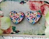 Buy 1 Get 1 Free - 20pcs (WA020) Heart Handmade Photo Wood Cut Cabochon (Back White)