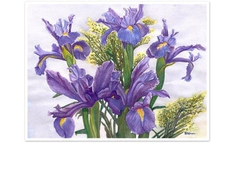 iris art print, watercolor irises, purple flower painting, botanical wall art