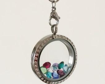 Glass Floating Locket necklace- Origami style