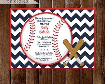 Baby Shower Invitation, Baseball Baby Shower Invitation, Chevron Baby Shower Invitation, Baseball Invite, Baseball Party, Baseball Theme