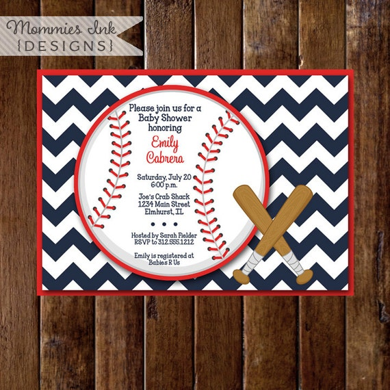 baby shower invitation baseball baby shower invitation chevron