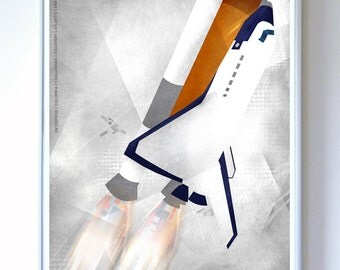 Space Shuttle Lift Off, Fine Art Print, Illustration, Art Print, NASA art , Science Wall Art, Science Poster
