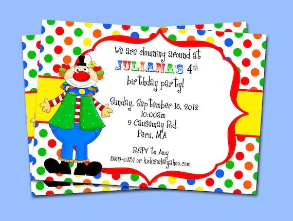 Invitaciones para imprimir - payaso carnaval circo cumpleaños Party ...