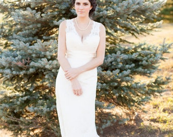 Alencon Lace Wedding Dress with Keyhole Open Back