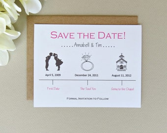 Timeline Save the Date Wedding Card