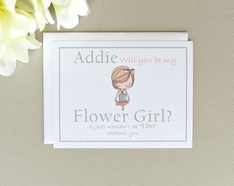 Will You Be My Flower Girl Adorable Personalized Wedding Party Invitation Card Choose Girl Image