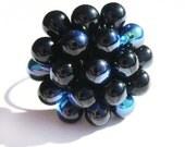 AB Black Berry Cluster Ring, Dark Ring, Classic Black Cocktail Ring, Black Bead Rings, Funky Rings, Statement ring, Black adjustable Ring