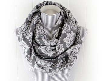 Charcoal Gray Damask Infinity Scarf, Trellis Scroll Print Grey Flannel Scarf