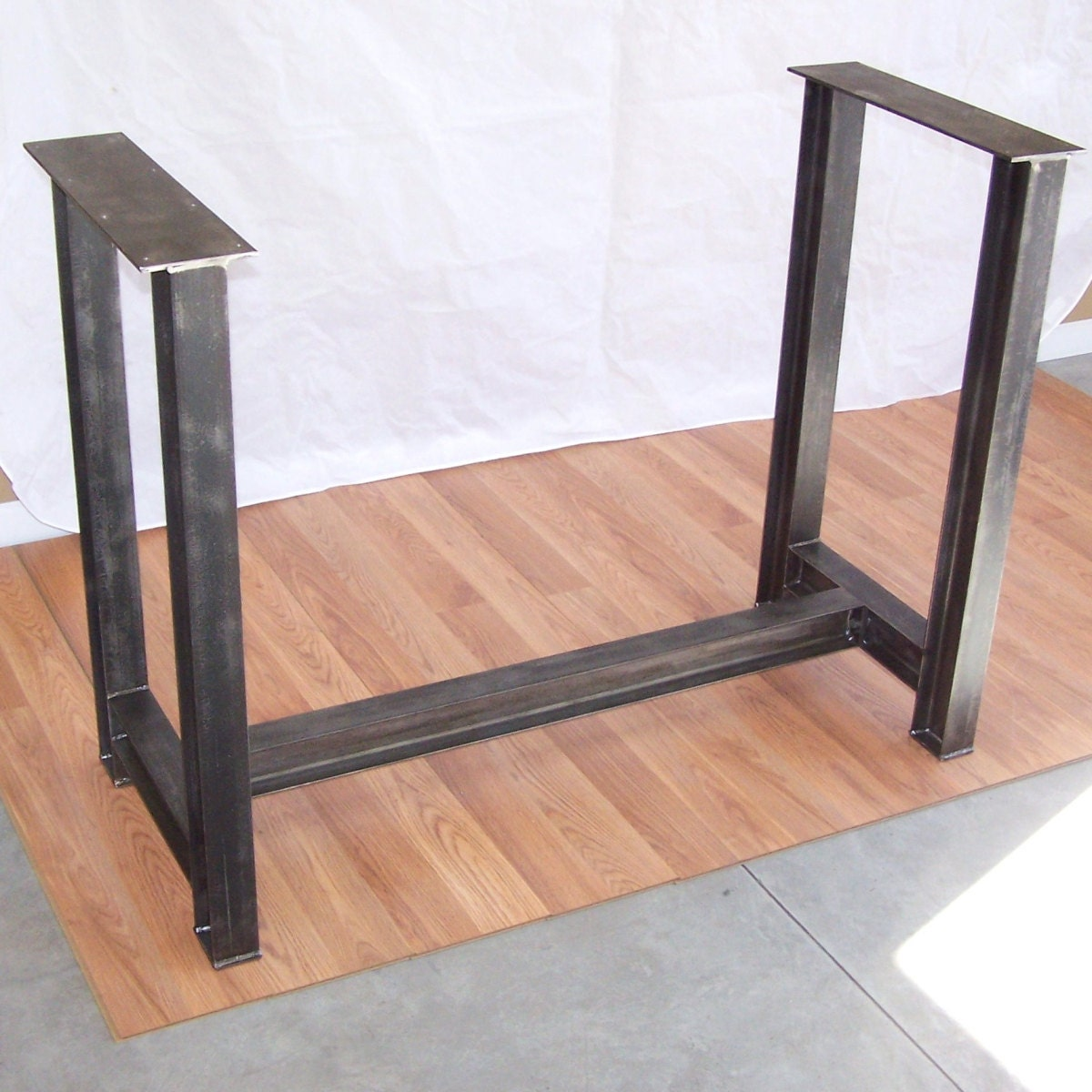 Industrial steel i beam bar base kitchen island heavy metal for Table exterieur rallonge aluminium