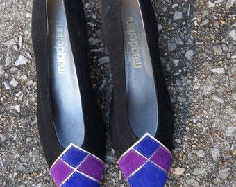 Vintage 80s Suede Flat Wedges 8N