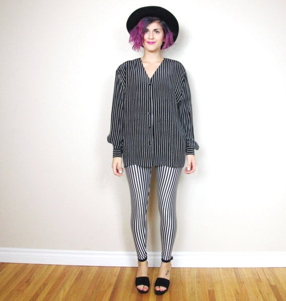 SALE 90s Black Silk Pinstripe Long Sleeve Blouse Minimalist (M/L)