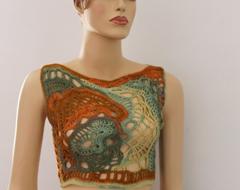 Chic Boho Hippie Multicolor  Freeform Crochet Tank - Top - Crop Top -Summer   - one of a kind - ready to ship