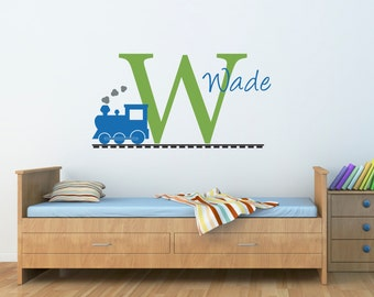 Personalized Train Decal - Initial Wall Decal with Name and Train -  Train Wall Decal - Large