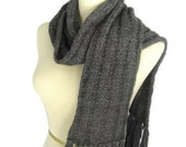 Gray Scarf, Bulky Scarf, Knit Scarf, Women, Winter Scarf, Charcoal Scarf, Gift Idea, Fiber Art, Unisex, Men Scarf
