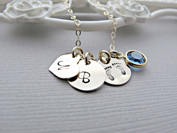 Baby Feet Necklace, New Mom Necklace, Personalized Jewelry, Gift For New Mom, Gold Necklace, Initial Pendant, Engraved Necklace, Birthstone